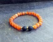 Stretch Diffuser  Bracelet , Orange and  Black  Stretch Bracelet,  Beaded Bracelet, Boho Bracelet,