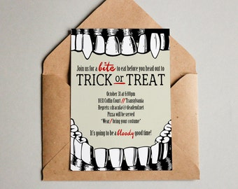 PRINTABLE Vampire Trick or Treat Halloween party invitation and coordinating back