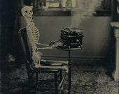 Bedtime Story (Memento Mori)-LARGE modern tintype of Death at a typewriter 8 X 6