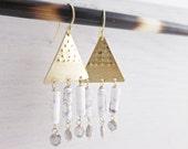 White Howlite Chandeliers. Brass Triangle Earrings. White Chandeliers. Stone Earrings. Gold Fill. Stone Dangles. Modern Earrings. Marble.