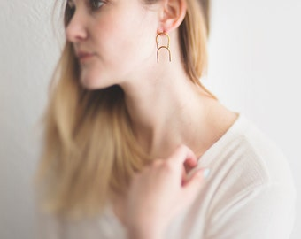 Brass Double Arc Earrings. Post Back. Modern. Minimal and Simple Earrings. Brass and Silver. Clean Lines. Chic Gold Earrings. Long Earrings.