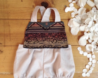 Boho Baby girl romper - girls clothes - 6 month photo outfit girl- jumper jumpsuit sunsuit bloomers overalls aztec southwest tribal bohemian