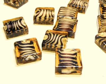 Five (5) Hard-to-Find Square Topaz Animal Stripe Lampwork Glass Beads --- LOT 3T