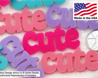 Resin Cabochons - 50mm Cute Pastel Word Letters Acrylic or Flatback Resin Cabochons - Great for Decoden - 4 pc set
