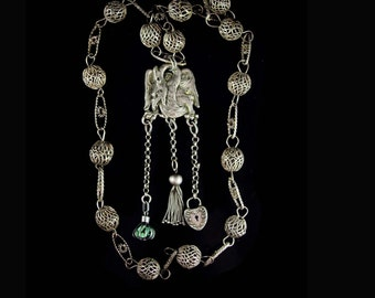 1899 Mythical dragon Necklace antique sterling Victorian padlock Protective Talisman Winged Guardian tassel fobs jade cage  Chandelier