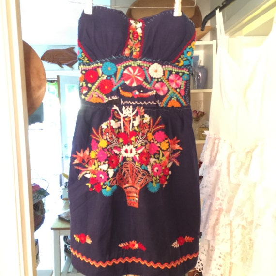 Upcycled old mexican embroidered dress corset size