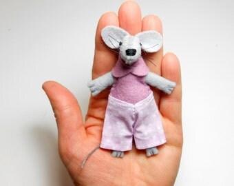 Lavender plush mouse best friend felt mouse in matchbox small felt stuffed animal  tiny miniature doll in a matchbox plush tiny felt dolls