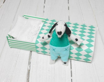 Felt dog plush dalmatian puppy dog in matchbox bed stuffed miniature animal green mint white black pre teen gift gift for dog lovers