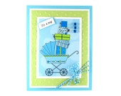 Baby shower cards, baby boys cards, new baby boy, congratulations cards, baby carriage, baby gifts, embossed baby cards