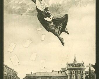 Floating Woman  - Surreal Photo Montage - Fantasy - Antique Postcard
