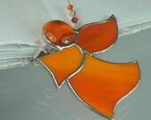 Little Orange Stained glass Guardian angel Suncatcher Window ornament & Christmas decoration
