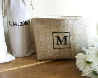 monogram burlap basket - personalized - wedding - engagement - anniversary - storage - organization - custom