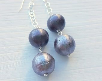 stormy weather earrings - vintage cotton pearls and sterling silver - one of a kind