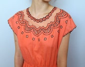 reserved for Y -- sunday dress -- vintage gorgeous cut out collar coral day dress -- M