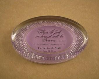 Wedding Keepsake, Jane Austen Quote, Forever Quote, Austen Paperweight, Wedding Date, Elegant Oval, Oval Paperweight, Anniversary Gift