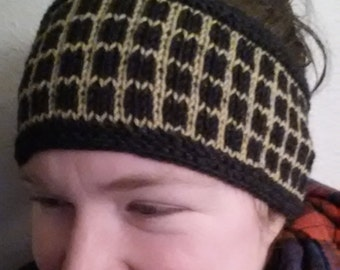 Wool headband -knit -fairisle -charcoal gray -gold -adult medium -ready to ship