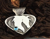 RESERVED Winter White Sterling Silver Arabian Horse Head custom pendant SRA
