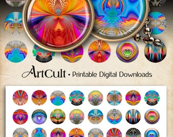 1 inch (25mm) Circle Images SPIRITUAL ART Digital Collage Sheet Printable download for pendants bottle caps magnets bezel cabochon trays