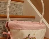 Custom for Emma Easter. Basket liner and basket chenille hand embroidered scene