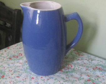 Antique Blue and White Hand Turned Stoneware Pitcher