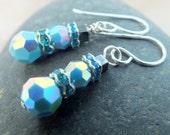 Turquoise de Swarovski Crystal boucles d'oreilles/bonhomme de neige boucles d'oreilles/vacances boucles d'oreilles/argent