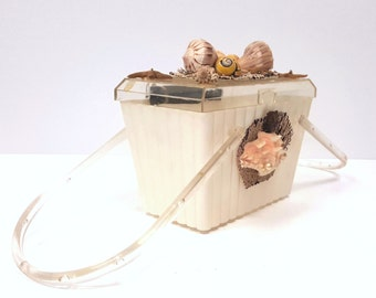 Vintage 50s Box Purse, Seashell Novelty Plastic Purse, Rhinestone Rockabilly Acrylic Box Handbag