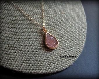 Druzy Necklace - Brown Druzy Necklace - Gold Filled Druzy  - Geode - Quartz - Modern - Layering - Autumn  - Druzy Necklace Gold -Raw Crystal