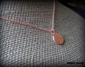 Rose Gold Disc Necklace - Tiny Disc Necklace - Minimalist Necklace - Rose Gold Circle Necklace - Modern Rose Gold Necklace - Layering