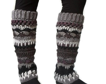 Bohemian Leg warmers Multicolored Textured stripped Earth Tones Brown Black Tan Ready to Ship