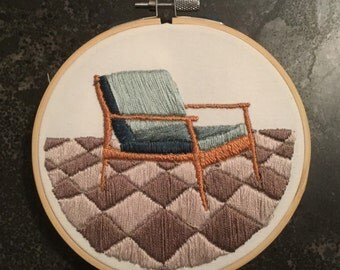Mid century modern chair embroidery with dusty rose and lavender rug  - ready to ship!