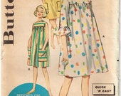 Misses 1960s Beach or Play Dress Vintage Butterick 2289 Sewing Pattern Ruffled Sleeves Size 13 Bust 33 Quick and Easy Gathered