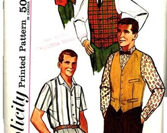 Mens Sport Shirt and Reversible Vest Vintage 1960s Simplicity 4160 Chest Size 40 Neck 15.5 Inch Welt Pockets
