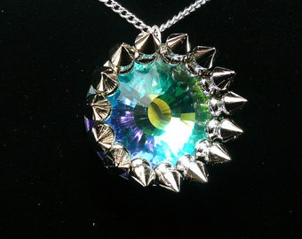 Goth Necklace, Spiked Necklace, Punk Necklace, Crystal Necklace, Aurora Borelais, Rocker Necklace, Rockabilly Necklace, Large Crystal