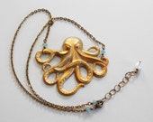 Angry Octopus Necklace Green Patina Antiqued Brass and Swarovski Crystals in Pacific Opal