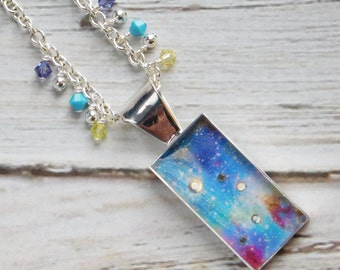 Space Necklace-Blue Nebula-Space Jewelry-Birthday Gift-Nasa-Stars-Crystal Sky-Night Sky-Swarovski