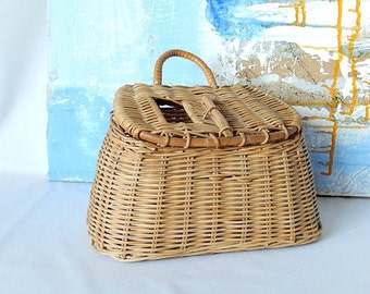 antique creel basket, woven wicker creel fishing basket,  home decor, wall decor, primitive, cottage decor, hand made basket