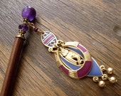 "Vintage Egyptian Inspired Cat Goddess Dangle and Amethyst Gemstone Beaded Hairstick ""Bast"""
