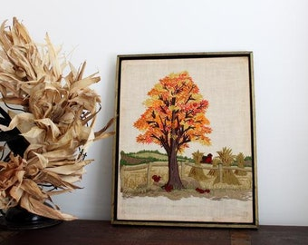 vintage Autumn Farm Scenery crewel embroidery on Linen wall hanging