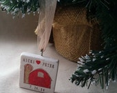 LOVESALE Personalized Rustic Barn Christmas Ornament - Gift for the Couple - Anniversary Gift