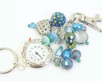 Bold Teal, Blue and Green Crystal Glass and Pearl Cluster Beaded Key Chain, Purse Embellishment, Zipper Pull