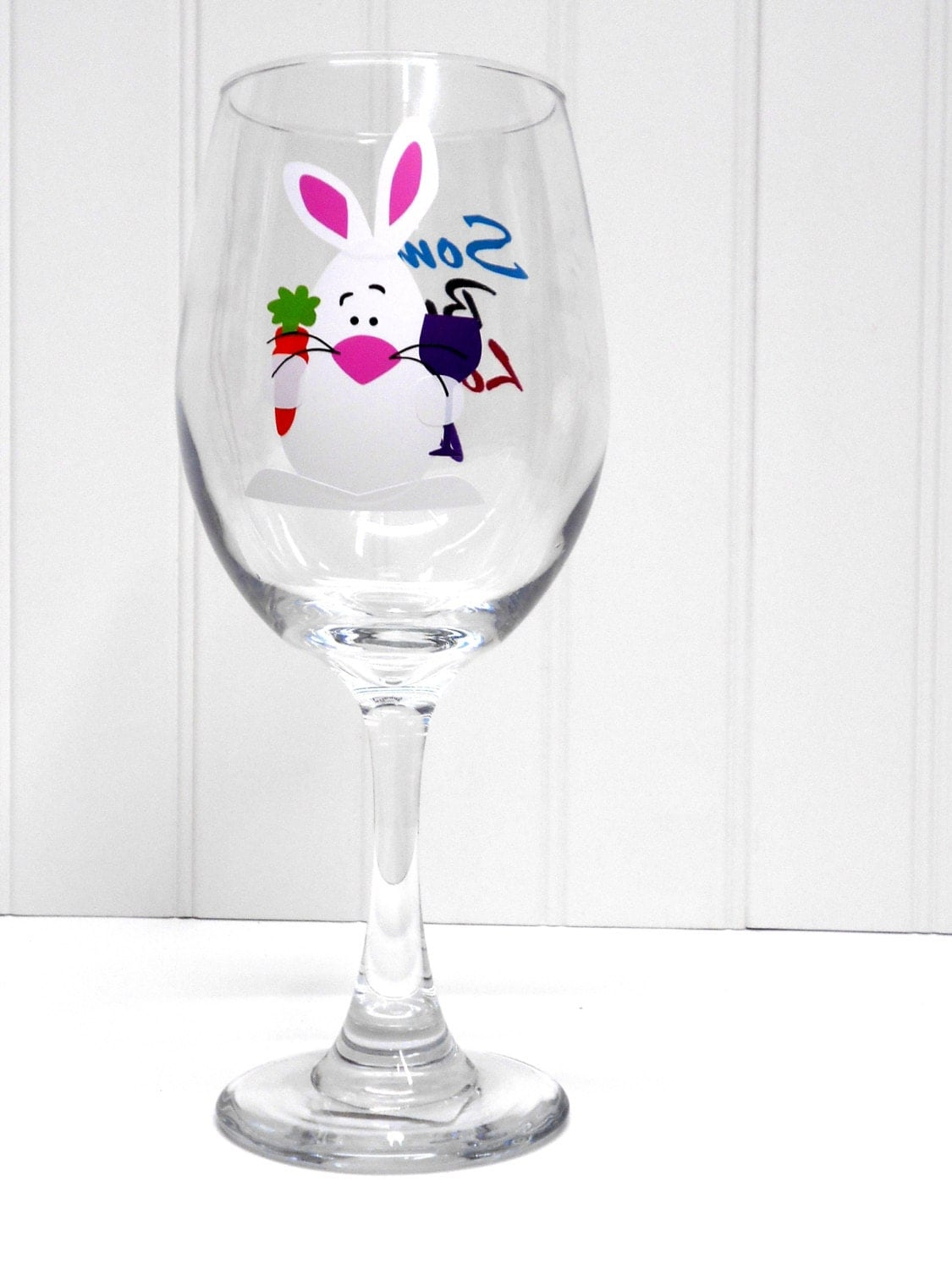 easter bunny wine glass by creationswithnicole on etsy. Black Bedroom Furniture Sets. Home Design Ideas