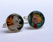 Comic Cufflinks - UPCYCLED from Calvin and Hobbes comic book RECYCLED silver plated cufflinks