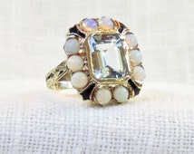 Victorian 10k Gold Opal and Blue Topaz Ring with Enamel Detailing