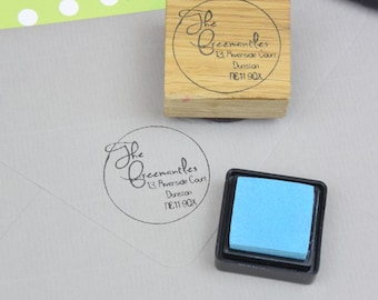 Small Circle Design Return Address Stamp