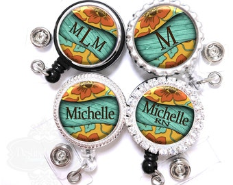 Retractable Id Badge Holder - Personalized Teal Boards and Flowers Nurse Lanyard Reel with Name, Monogram, Occupation (A020)