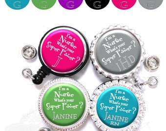 Nurse Super Power Badge Reel - Personalized RN, LPN Retractable Lanyard ID Holder in 6 Colors with Name, Monogram, Occupation Title (A279)