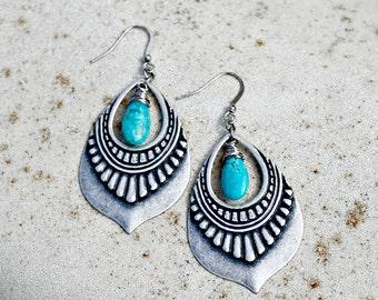 Turquoise Jewelry, Silver Chandelier Earrings, Genuine Arizona Turquoise, Bohemian Earrings, Boho Chic, December Birthstone