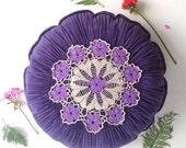 Gathered vintage fabric purple crochet floral cushion