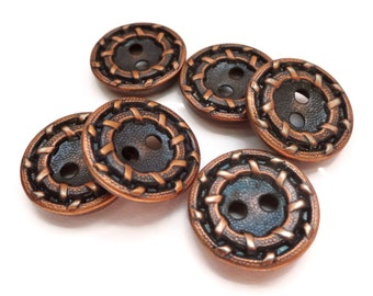 Copper Vintage Buttons - 6 Vintage Metal Sew Through Blazer Buttons 5/8 inch 15mm for Jewelry Beads Sewing Knitting