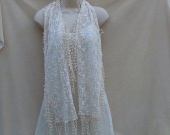 Cream Lace Scarf / Cotton Lace Fringe  Scarf / Bridal Wedding Scarf / Vintage Inspired Scarf / Summer Wrap Scarf / Boho Scarf